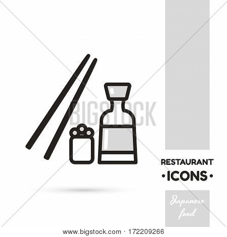Monochrome linear icon. Stylized japanese food. One image of series Restaurant icons. Vector illustration. Can be used for applications and websites