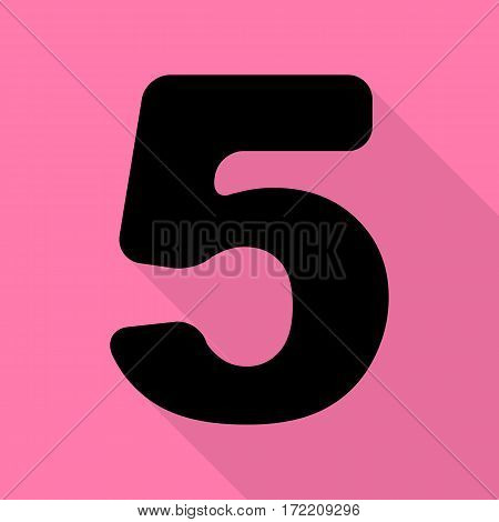 Number 5 sign design template element. Black icon with flat style shadow path on pink background.