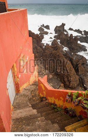 View next to houses of Punta Brava in Puerto de la Cruz Tenerife Canary Islands Spain