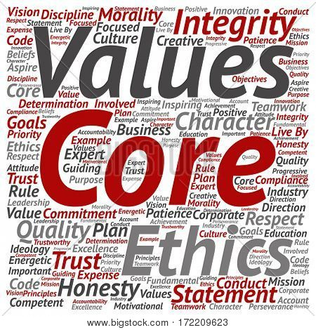 Conceptual core values integrity ethics square concept word cloud isolated on background