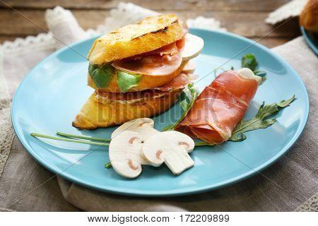 Tasty sandwich on plate