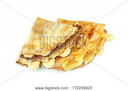 Delicious pancakes with banana and pineapple on white background