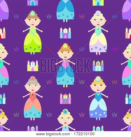 kids seamless pattern with princess castle crown vector illustration
