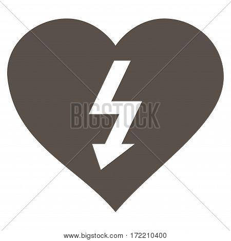 Power Love Heart flat icon. Vector grey symbol. Pictogram is isolated on a white background. Trendy flat style illustration for web site design logo ads apps user interface.