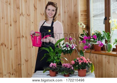 Happy young woman watering plant using sprinkling can, smiling.