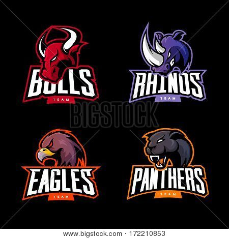 Furious rhino, bull, eagle and panther sport vector logo concept set isolated on dark background.  Web infographic professional team pictogram. Premium quality wild animal and bird t-shirt tee print illustration