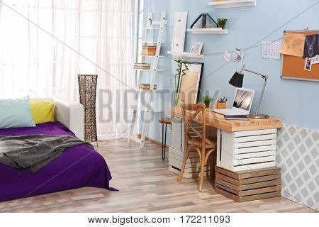 Interior of teenage girl's room