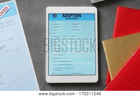Adoption paternity registry in tablet