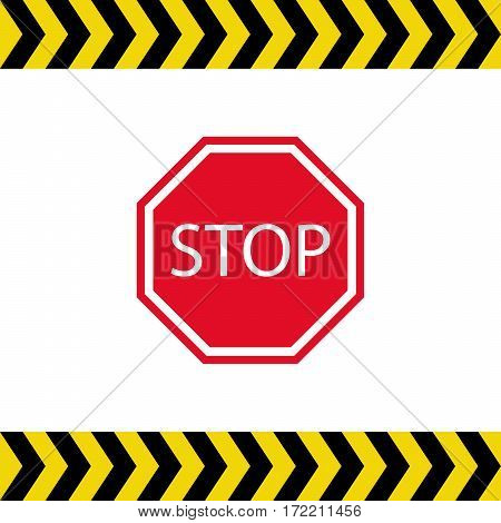 Stop sign with warning strips on white background vector illustration