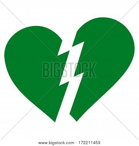 Broken Heart flat icon. Vector green symbol. Pictograph is isolated on a white background. Trendy flat style illustration for web site design logo ads apps user interface.