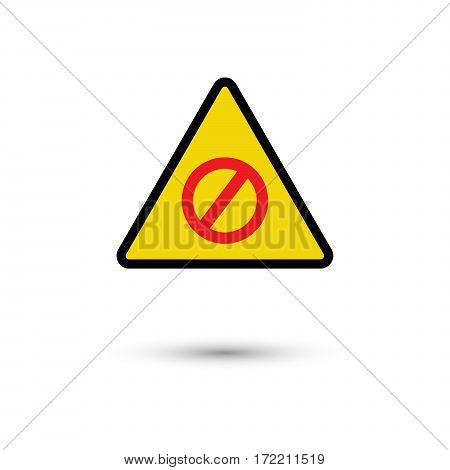 Warning sign with shadow on white background vector illustration