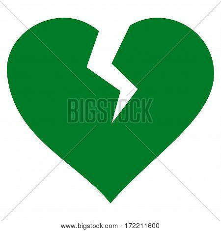 Heart Break flat icon. Vector green symbol. Pictograph is isolated on a white background. Trendy flat style illustration for web site design logo ads apps user interface.