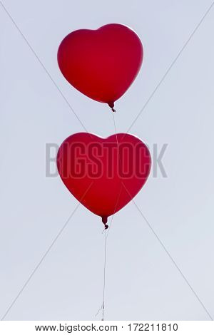 two heart shaped balloons for lovein the sky