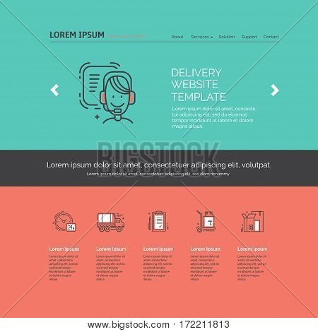 Landing page design template with line icons for delivery, moving service or trucking industry. Ideal for business layout. Clean and minimalistic concept.