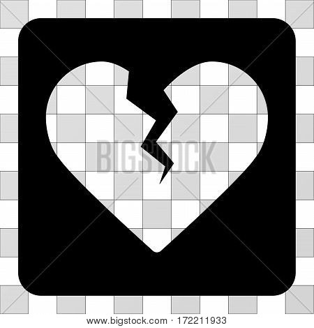 Divorce Heart interface toolbar icon. Vector pictograph style is a flat symbol perforation in a rounded square shape, black color.