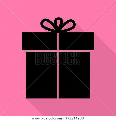 Gift sign. Black icon with flat style shadow path on pink background.
