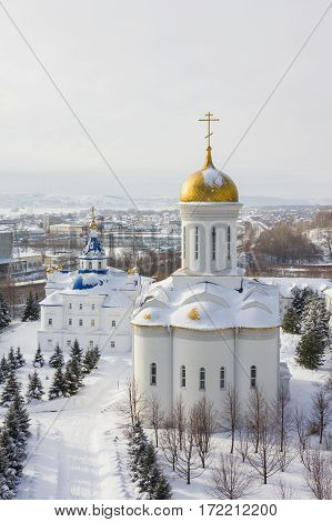 Kazan, Russia, 9 february 2017, Zilant monastery - oldest orthodox building - typical russian landscape, aerial view
