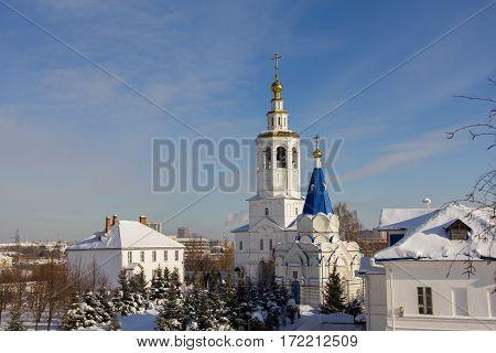 Kazan, Russia, 9 february 2017, Zilant monastery - oldest orthodox building - white church - architectural ensemble, telephoto