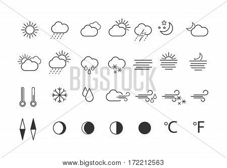 Set of weather icons in line style for web, mobile applications on white background