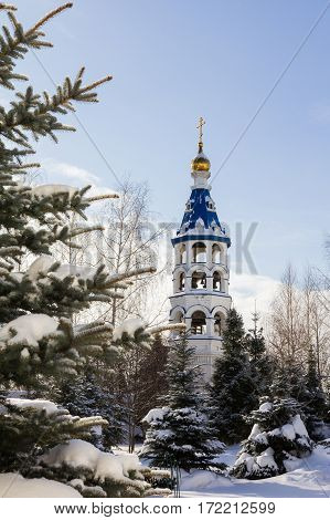 Kazan, Russia, 9 february 2017, Zilant monastery - oldest orthodox building in city - bell tower in winter Russia, telephoto