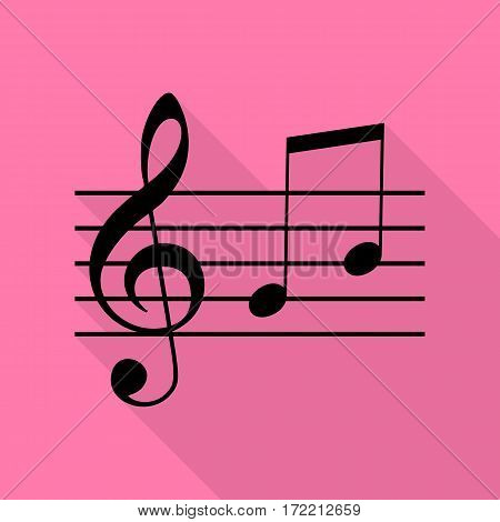 Music violin clef sign. G-clef and notes G, H. Black icon with flat style shadow path on pink background.