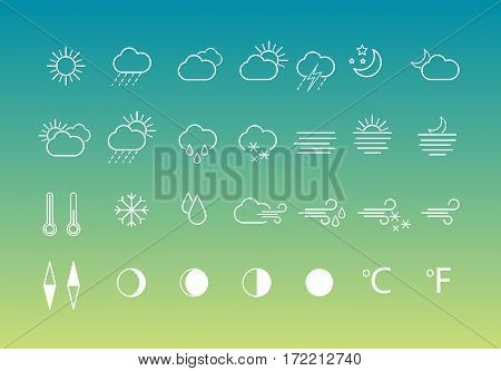 Set of weather icons in line style for web, mobile applications