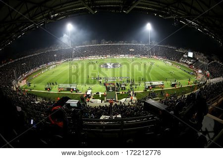 Uefa Europa League Match Between Paok Vs Schalke Played At Toumba Stadium