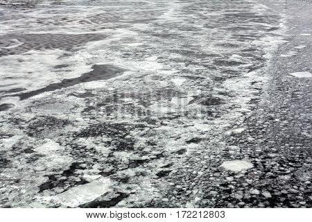 Ice drifting on the water surface in spring.