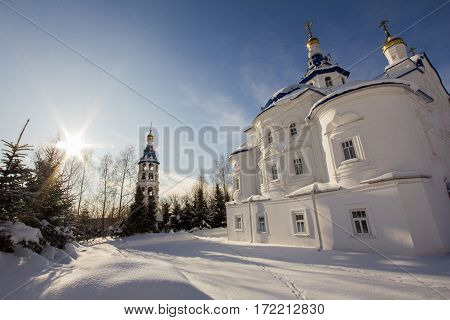 Kazan, Russia, 9 february 2017, Zilant monastery - oldest orthodox building in city - the courtyard for monks, widw angle
