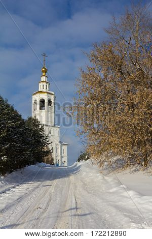 Kazan, Russia, 9 february 2017, Zilant monastery - oldest orthodox building in city - winter Russian landscape, vertical