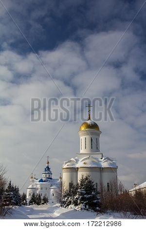 Kazan, Russia, 9 february 2017, Zilant monastery - oldest orthodox building in city - winter Russian landscape - golden domes, sunny day