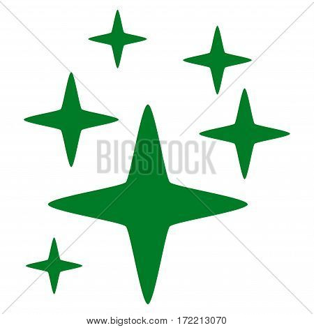 Sparkle Stars flat icon. Vector green symbol. Pictograph is isolated on a white background. Trendy flat style illustration for web site design logo ads apps user interface.