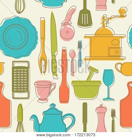 Set of hand drawn cookware. Silhouettes and colored shadows of kitchen utensils. Vintage style. Seamless pattern be used for textile, book, cover, packaging, website, background, labels.