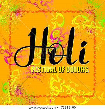 Holi festival of colors. Vector abstract banner with hand drawn word and round decorative elements.