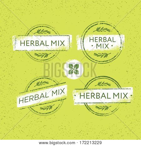 Herbal Tea Mix Creative Vector Stamp Concept On Organic Background. Eco Insignia Label Illustration.