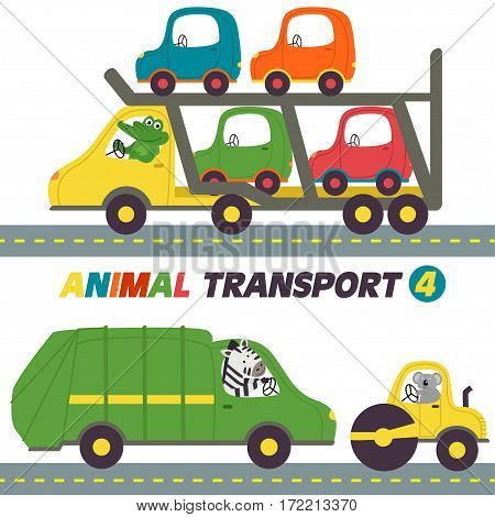 set of isolated transports with animals part 4- vector illustration, eps