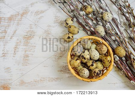Quail Eggs And A Bunch Of Pussy-willow Twigs
