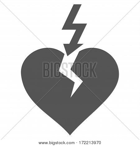 Break Heart flat icon. Vector gray symbol. Pictogram is isolated on a white background. Trendy flat style illustration for web site design logo ads apps user interface.