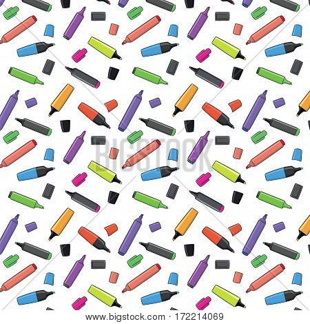 repetitive seamless background with many markers colored