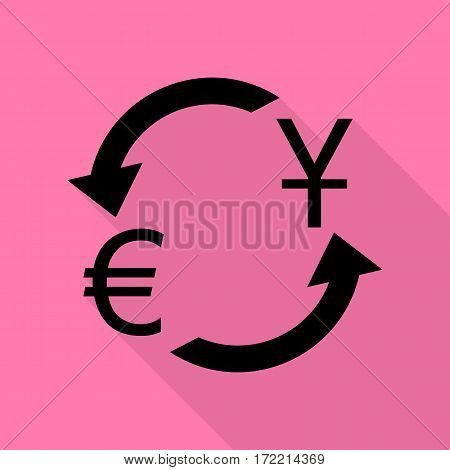 Currency exchange sign. Dollar and Euro. Black icon with flat style shadow path on pink background.