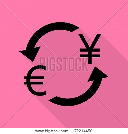 Currency exchange sign. Euro and Japan Yen. Black icon with flat style shadow path on pink background.
