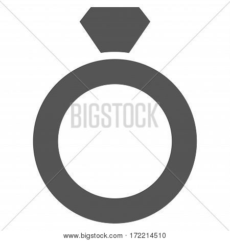 Diamond Ring flat icon. Vector gray symbol. Pictograph is isolated on a white background. Trendy flat style illustration for web site design logo ads apps user interface.