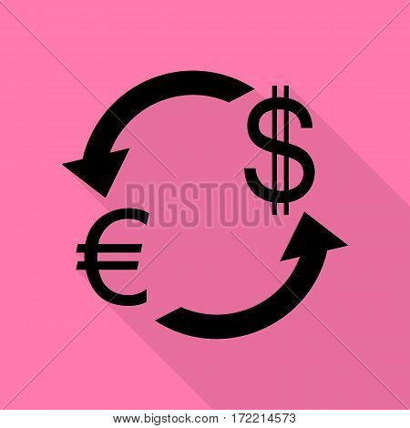 Currency exchange sign. Euro and Dollar. Black icon with flat style shadow path on pink background.