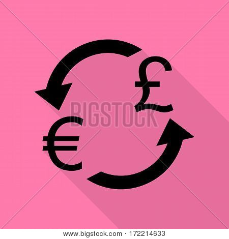 Currency exchange sign. Euro and UK Pound. Black icon with flat style shadow path on pink background.