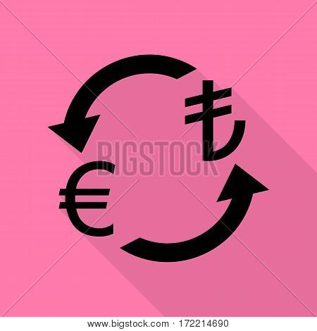 Currency exchange sign. Euro and Turkey Lira. Black icon with flat style shadow path on pink background.
