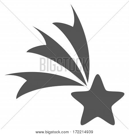 Falling Star flat icon. Vector gray symbol. Pictograph is isolated on a white background. Trendy flat style illustration for web site design logo ads apps user interface.