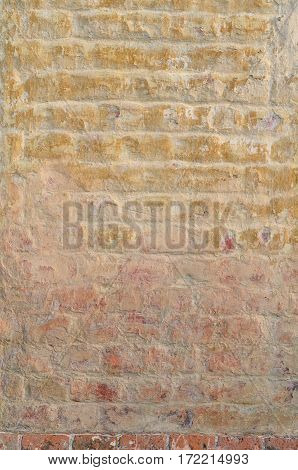 Texture of a vintage rustic old red brick wall background