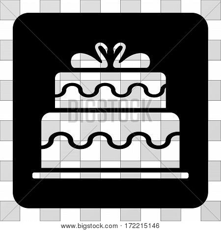 Marriage Cake interface toolbar icon. Vector pictograph style is a flat symbol perforation centered in a rounded square shape, black color.