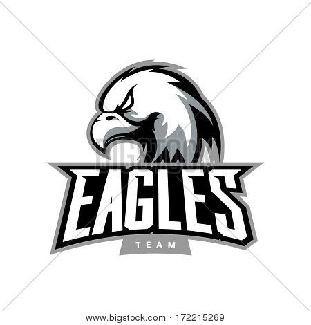 Furious eagle sport vector logo concept isolated on dark background. Web infographic professional team pictogram. Premium quality wild bird t-shirt tee print illustration