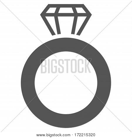 Gem Ring flat icon. Vector gray symbol. Pictograph is isolated on a white background. Trendy flat style illustration for web site design logo ads apps user interface.
